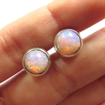 Tiny Fire Opal Glass Stud Post- Round Stainless Steel Earrings Mini Small 8mm Pink