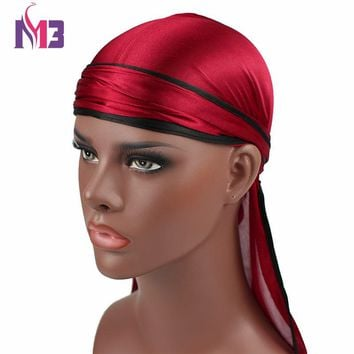 New Fashion Men's Silky Durags Biker Headwear Skull Cap Bandana Men Durag King's Doo Rag Turban Hat Headband Hair Accessories