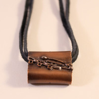 Copper Pipe Handy Hack Pendant- with Copper Fused Line Drawing- on Black Leather Adjustable Cord- Unisex Necklace- (Style D)