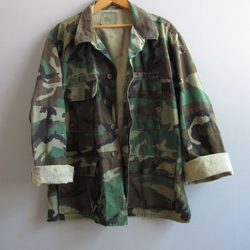 Vtg Army Camo Jacket Shirt Camouflage US Military Reclaimed L Large Short Cotton