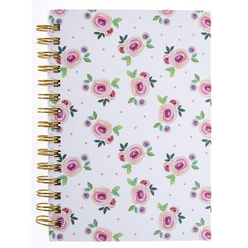 Watercolor Roses Hard Bound Journal in White