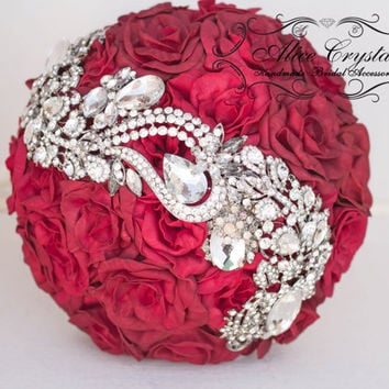 Brooch Bouquet red, dark red roses Bouquet. Red rose wedding bouquet.