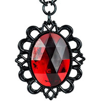 Large Red Stone Necklace with Black Victorian Setting