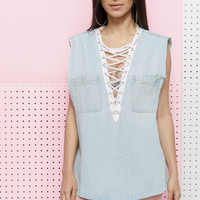 ALONZA LACE UP DENIM TUNIC