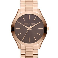 Michael Kors Mid-Size Rose Golden Stainless Steel Slim Runway Three-Hand Watch - Michael Kors