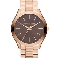 Michael Kors Michael Kors Mid-Size Rose Golden Stainless Steel Slim Runway Three-Hand Watch - Michael Kors