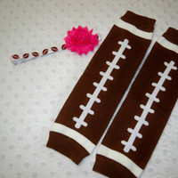 Baby Girl Football Leg Warmers, and Headband Bow - Pink and Brown Football Baby Girl - Baby Girl Football Leg Warmers Pink Football Headband