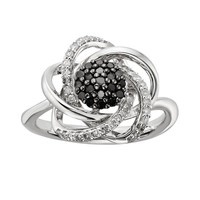 Timeless Love Sterling Silver 1/2-ct. T.W. Black and White Diamond Flower Ring