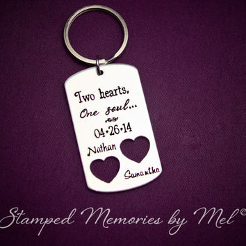 Two Hearts, One Soul - Hand Stamped Aluminum Key Chain with Heart Cut Out - Personalized Wedding Anniversary Gift with Names and Date