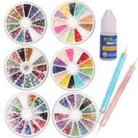 6 Wheels Combo Set Nail Art Nailart Manicure Rhinestones Glitter Tips Deco + 2x Dotting Pen + Glue: Beauty