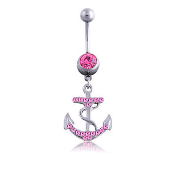 New Charming Dangle Crystal Navel Belly Ring Bling Barbell Button Ring Piercing Body Jewelry = 4651260612