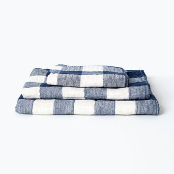 Vintage Check Towel, Navy