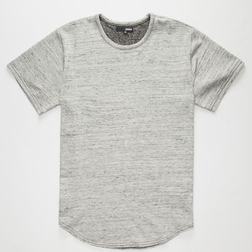 Elwood Marled Terry Curved Hem Mens T-Shirt Gray  In Sizes