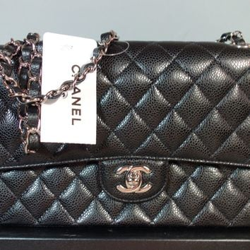 Chanel NEW Black Quilted Caviar Leather Med Silver Chain Double Flap Bag Purse