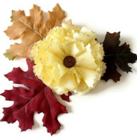 Flower Brooch Pin Light Yellow and Autumn Leaves