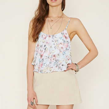 Lace-Up Floral Flounce Cami
