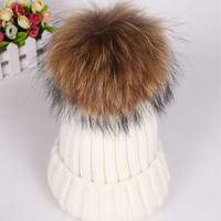 2016 Winter Knitted Real Fur Hat Women thicken Beanies skullies  with 15cm Raccoon Fur Pom poms Caps snapback beanie Hats