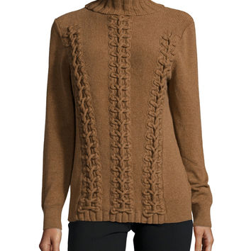 Long-Sleeve Cable-Knit Cashmere Sweater, Coconut Melange, Size: LARGE, COCONUT MELANGE - Lafayette 148 New York