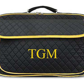 Monogrammed Laptop Case  Black with Yellow Trim Personalized Laptop Case  Embroidery Monogram Laptop Bag