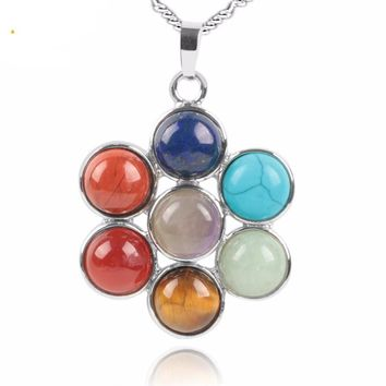 7 Chakra Natural Stones Reiki Healing Charm Jewelry Flower of Life Pendant Necklace Yoga Jewellery Pendants