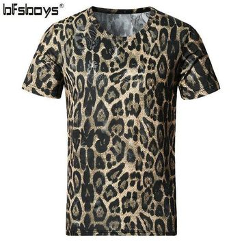 DKLW8 BFSBOYS 2017 Men's Clothing Cotton and Silk Leopard Print Slim O-neck Short-sleeve Adventure Time Male T-shirt Clothes SIZE 5XL