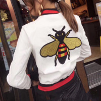 GUCCI female Leather clothing Embroidery Loose coat