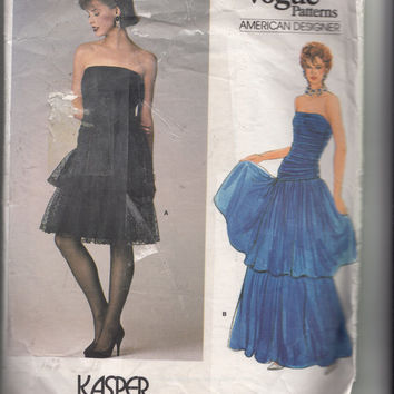 Vintage 1980s Strapless Evening or Cocktail Dress Vogue Pattern 1623 Designer Kasper Fitted Draped Bodice & Full Tiered Skirt Bust 31.5