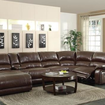Coaster 600357 6 pc mackenzie collection chestnut bonded leather match motion sectional sofa set with chaise and recliners