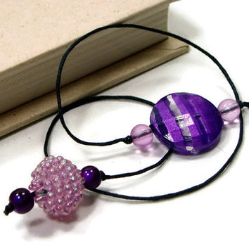 Book Thong Beaded Bookmark Purple Mauve Pink Book Cord Book String Gift under 5 Teacher Gift Book Club Bible Bookmark Cookbook