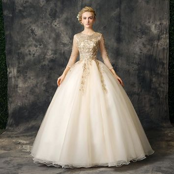 Gold Dresses debutante Ball Gowns With Lace Appliques 3/4 Long Sleeves Beaded