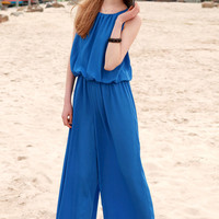 Back Single Breasted Wide Leg Jumpsuit With Drawstring