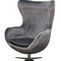Finn Fabric Swivel Chair Chrome Legs, Shadow Gray