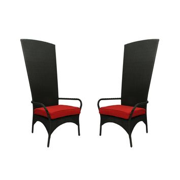Set of 2 Black Resin Wicker Outdoor Patio King Chairs - Red Cushions