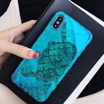 Cool Laser Blue Fish Scale Phone case For iphone 6 6s 7 8 Plus X Soft IMD Cover