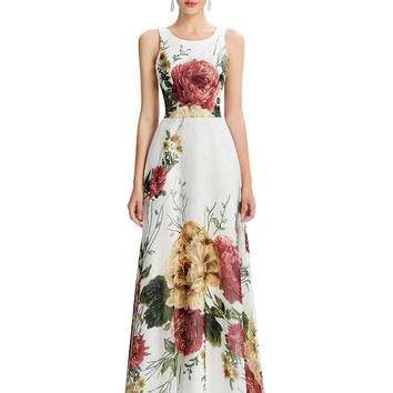 Grace Karin Floral Print Sleeveless Long Evening Dress