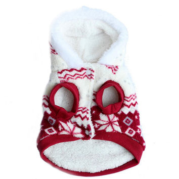 Pets Dog Winter Coat Fleece Snowflake Printed Dog Puppy Clothes Appral Jacket XS S M L XL