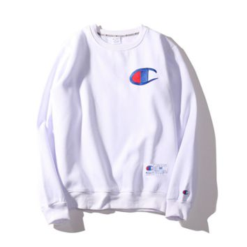 Autumn and Winter Champion embroidery small lovers sweater plus velvet thickening White