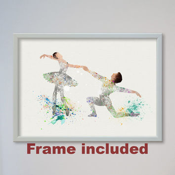 Ballet Dance Couple Poster dancing illustration Watercolor Art Print Ballerina Poster FRAMED