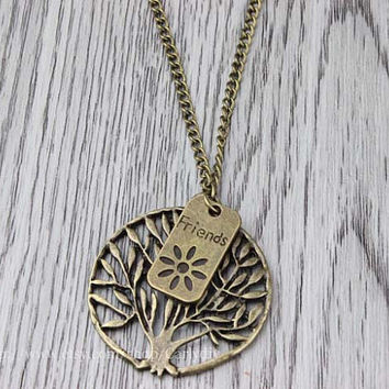 Bronze friendship tree necklace - hope tree necklace, necklace charm jewelry