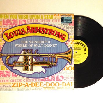 Rare LP Album Louis Armstrong The Wonderful World of Walt Disney Vinyl Record 1971 The Ballad of Davy Crockett