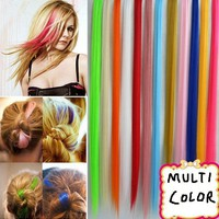New 2015 Details about  Women Colorized Straight Clip In Synthetic Fiber Hair Extensions Hair Pieces 1X