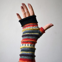 Merino Wool Fingerless Gloves - Knit Fingerless gloves - Fashion Gloves - Rainbow Fingerless Gloves - Christmas Gift nO 72.