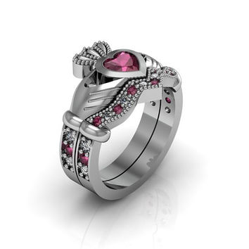 Sterling Silver Created Ruby  Claddagh  Love and  Friendship Engagement Ring Set
