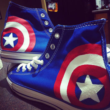 CAPTAIN AMERICA SHOES  avengers  shield by RandomToRiches on Etsy