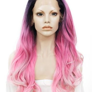 Pink Ombre Dark Root Wavy Long Synthetic Lace Front Wig