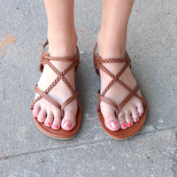MIA: Adrianna Braided Strappy Sandals {Brown}