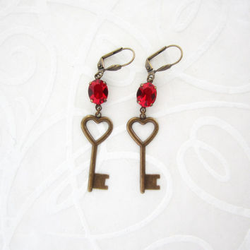 Heart Key Earrings - Romantic Valentine Jewelry - Fire Red Crystal