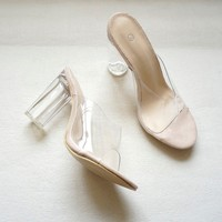 Transparent Clear Heel Mules
