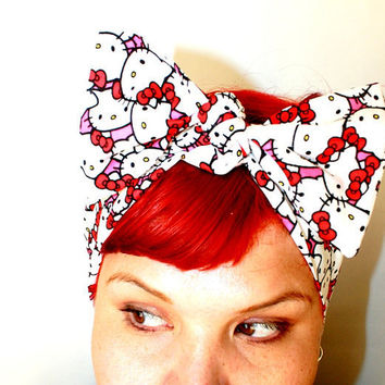 Bow hair tie Hello Kitty Red Bows by OhHoneyHush on Etsy