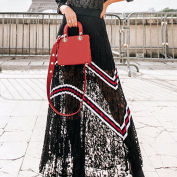 Autumn and winter new sexy openwork lace stitching ribbon pleated long skirt women